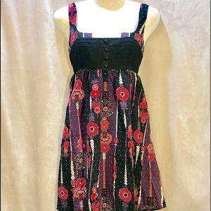 Free People Sleeveless Dress Purple w/Red Dress, 8